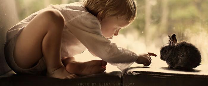 niño con conejito